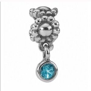 ✨RARE Daisy Charm with Blue Topaz Dangle